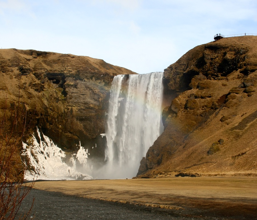 The Skogfoss Waterfall Is About 200 Feet High 60 Meters We Visited Site On Saturday Morning And A Few Of Us Walked Up 350 Stairs To