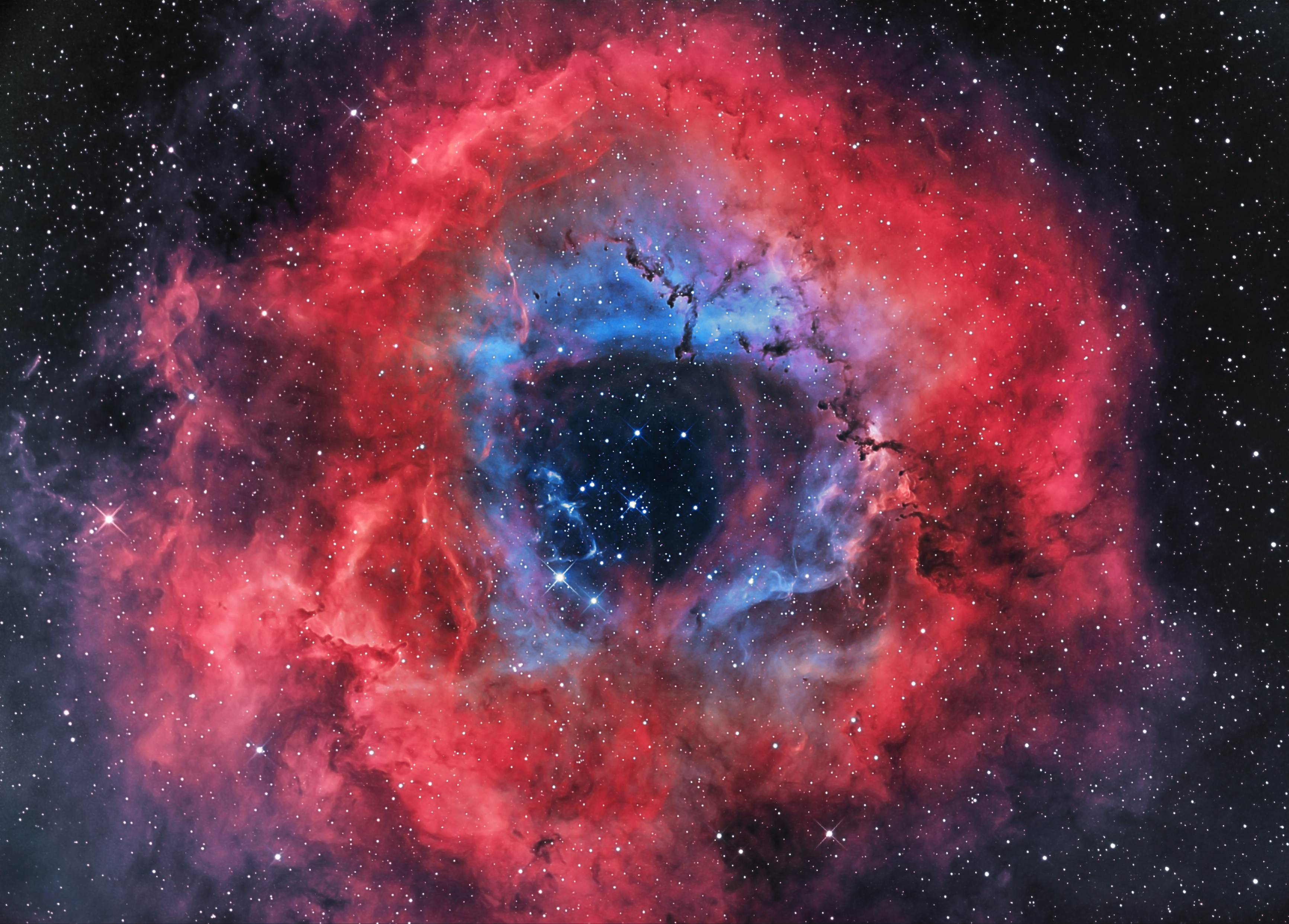 Red White and Blue Galaxy Background