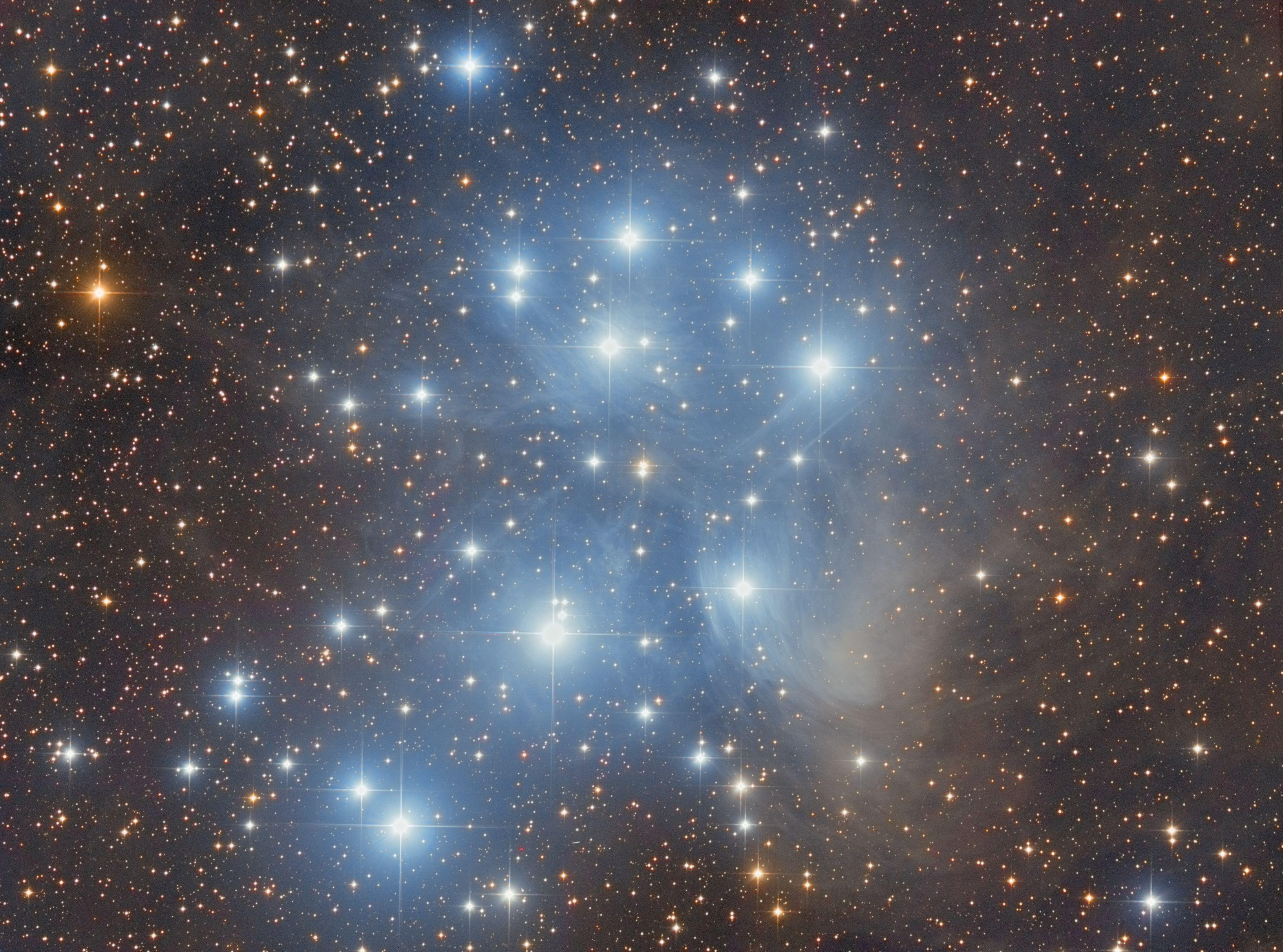 The Pleiades (M45) + asteroid 838 Seraphina - Astronomy