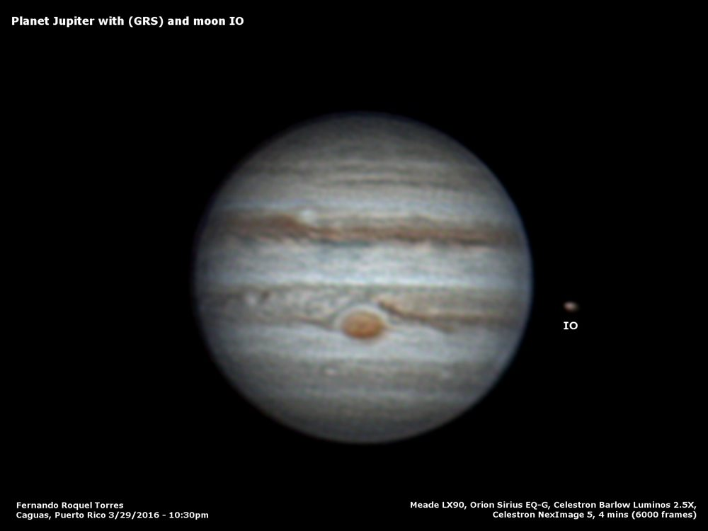 Planet Jupiter with GRS and moon Io - Astronomy Magazine ...